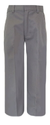 Boys Plain Front Grey Large Waist School Uniform Pants