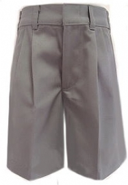 Boys Husky Pleated  Light Grey Uniform Shorts