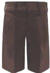 Young Mens Flat Front Brown School Uniform Shorts