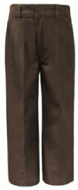 Rifle Boys Flat Front Adjustable Waist Brown School Uniform Pants