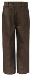 Husky Boys Flat Front Adjustable Large Waist Brown School Pants
