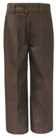 Rifle Young Mens Flat Front Brown Uniform Pants