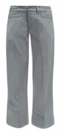 Junior Grey Low-Rise Flare Leg Adjustable Waist Uniform Pants